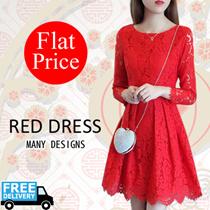 【FLAT PRICE ★FREE SHIPPING】 RED DRESS /Korean dress/Tops/Chiffon Blouse/Linen /Bridesmaid Dress