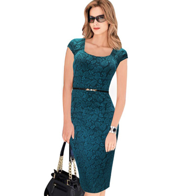 155e768c91423 sale Free Shipping Designer Women Dress Elegant Floral Print Cap Sleeve  Work Business Casual Party V