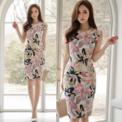 2017夏服韓国の婦人服上品な気質とヒッププリントファッション無袖修身ワンピース