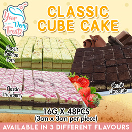 [Newly Launch] Classic Cube Cakes(48pcs/box)! 3 Different Flavours Available! FREE DELIVERY