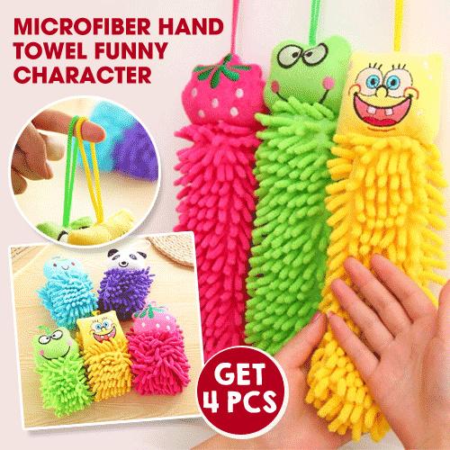 Get 4 pcs - Microfiber Hand Towel Funny Character
