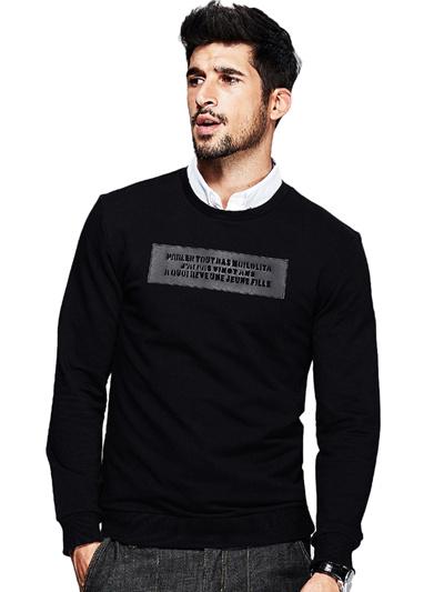 Casual Style Letter Applique Black Top For Men
