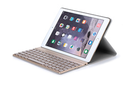Wireless QWERTY Aluminium Bluetooth Keyboard Leather Protective Case Cover With / Without Colorful Backlit Light iPad Air 2