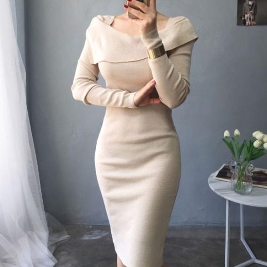・アバウト・スタイル行き来するようにオスUNBALANCE・ショルダースリムフィットニット・ワンピース ニット・ワンピース/ 韓国ファッション