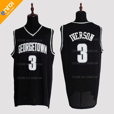 212d9605f0e1 Retro Allen Iverson Jerseys 3  Georgetown University Hoyas Throwback High  Quality Stitched