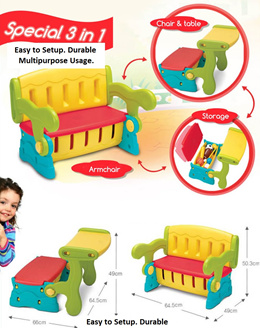 Brand New 3 in 1 Kids Chair and Table. Easy to Setup. Multipurpose. Local SG Stock and warranty !!