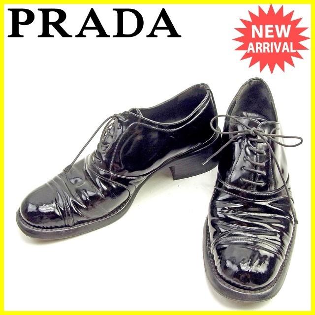 60777aec41e6 Qoo10 - Prada PRADA shoes   37 1 2 Ladies lace up black enamel ...
