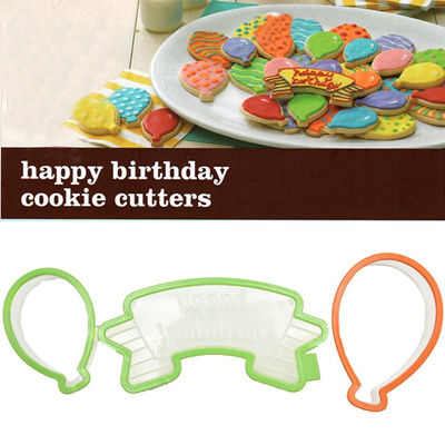 3pcs Balloon Shaped Sugar Cookie Cutter Cupcake Happy Birthday Cake Mold Decor