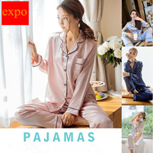 Silk satin fabric cover long sleeve/short sleeve Pajamas Pants  women sleepwear