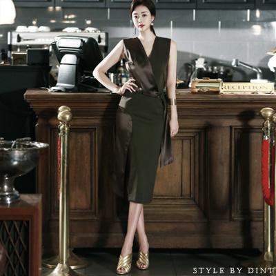 「DINT」 ★送料無料★D3070♥ラグジュアリーオフィスルック♥働く女子のお洒落なオフィススタイル提案!!オンバルロンス配色ドレープスルリブリスワンピース