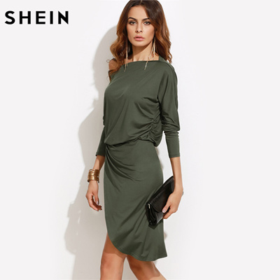 df4bcbcd24 outlet SHEIN Army Green Women Autumn Party Dresses Long Sleeve Ladies Sexy  Club Dress 2016 Off