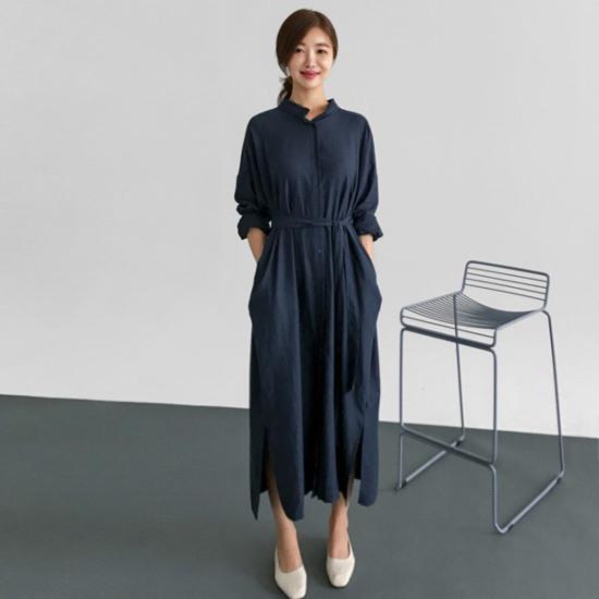 るみさんフリルネックリボンロングワンピース 綿ワンピース/ 韓国ファッション