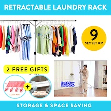 Retractable Laundry Rack Space Saving Easy Storage Clothes Rack Stainless Steel Long Lasting Rack