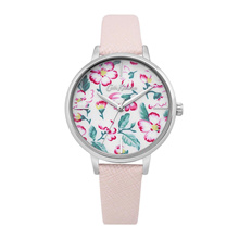 CATH KIDSTON FLORAL ALLOY QUARTZ CKL069P WHITE GOLD GENUINE LEATHER WOMEN WATCH