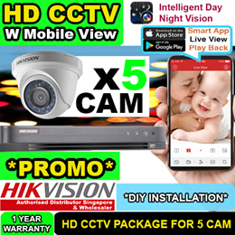 HIK CCTV Camera Singapore DIY Package for 5 HD Camera
