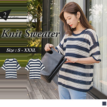 OB DESIGN ★ OBDESIGN ★ ORANGEBEAR ★ SHORT SLEEVE ROUND NECK STRIPED KNIT SWEATER ★ 2 COLORS ★ S-XXXL