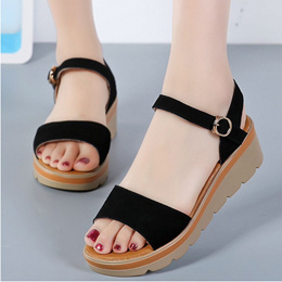 82e081f4431a women summer sandals gladiator platm buckle strap creepers 6cm high heel  wedges beach shoes ladies
