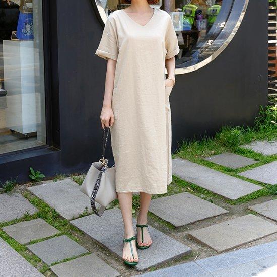 ディエイスワンダーリンネンポケットワンピース 綿ワンピース/ 韓国ファッション