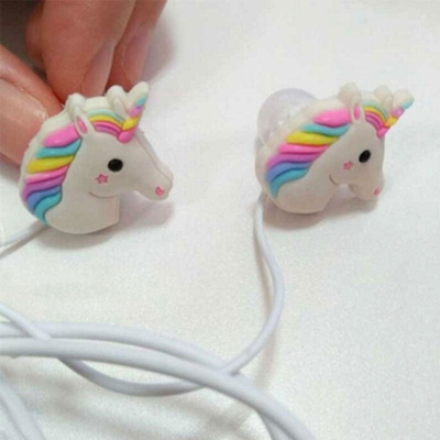 157f04ccb9a 3D Lovely Cartoon Emoji Unicorn Earphones Colorful Rainbow Horse In-ear Earphone  Earbuds Ear Plug