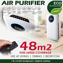 【ECO TECH AIR PURIFIER】 7-IN-1 FILTER TECHNOLOGY | READY STOCK IN SG | LARGE COVERAGE 48M2