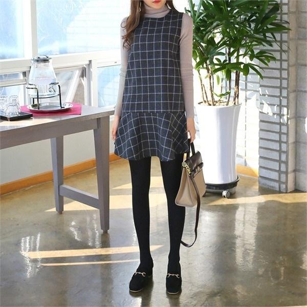 ホーリーチェックワンピースnew ノースリーブ/トップワンピース/ワンピース/韓国ファッション
