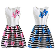 f8186e5a58 Summer Baby Girls Dress Butterfly Floral Print Princess Dresses Formal  Party Dress