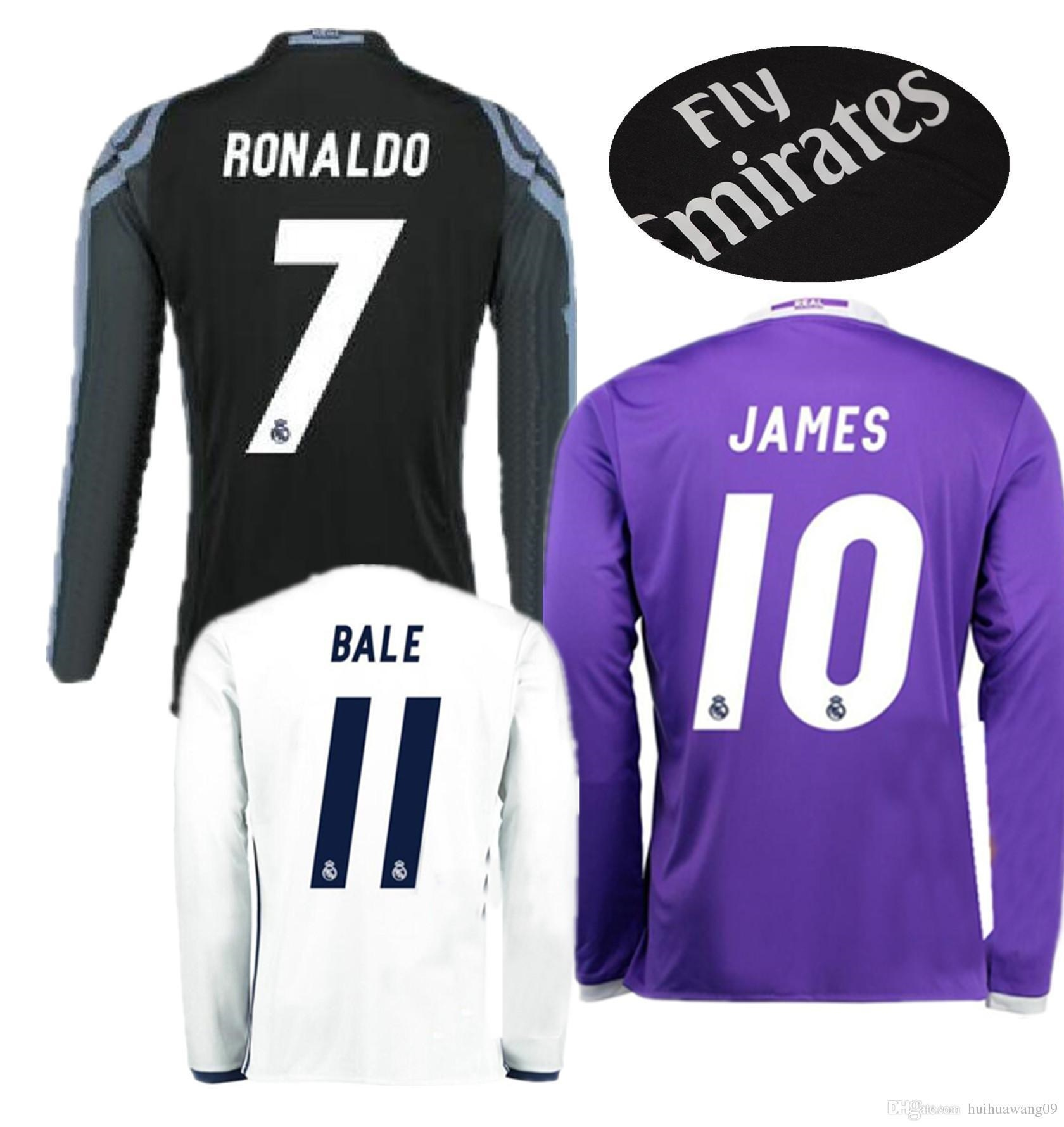quality design 8169e 1aa16 2017 Long Third Black Real Madrid Soccer Jerseys Ronaldo Jerseys 16/17 Bale  James Kroos Sergio Ramos