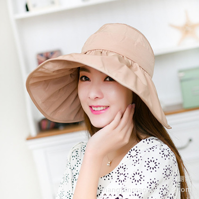 Lady Wide Brim Hat Women s Summer Sun Beach Hats Foldable Roll Up Floppy  Solid Visor 56fcb9f1bbab