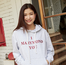 [MARYMOND] Message / Hoodie / Dianthus (Light Grey)