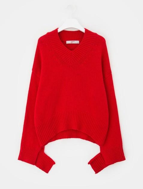 8SECONDS V-neck Drop Shoulder Cropped Pullover - Red