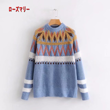 【Rosemary】 Geometric figure of Korean version Jacquard knit Relaxing the autumn and winter hair Long sleeve sweater suite Knitting sweater Knitting cute basic long-sleeved sweater Popular-R1132