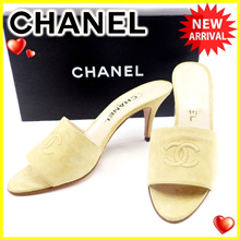 Chanel CHANEL Mules Shoes Shoes Men 's Available # 38 Coco Mark Beige Suede Popular 【Used】 T4610.