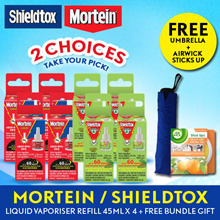 Mortein and Shieldtox Cordless Electric Liquid Vaporiser Refill 45ML x 4 (Expires 30.09.2018)