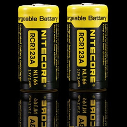 battery / Pair of Nitecore NL166 3.7V 650mAh RCR123A Rechargeable Li-ion Lithium Battery