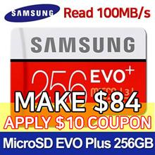 [$10 Promo] SAMSUNG Micro SDXC  EVO PLUS 256GB Memory Card with SD adapter ★ U3 Class10 ★100MB/s
