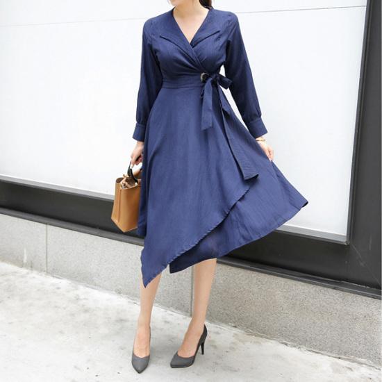 トムエンレビッ咲き始め、ワンピースロングワンピースラップワンピースフレアワンピーススーツワンピース スーツワンピース/ 韓国ファッション