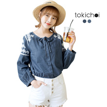 TOKICHOI - Textured Ribbon Detail Blouse-180270