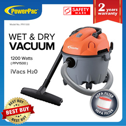 PowerPac Vacuum Cleaner Wet and Dry 1200 Watts (PPV1500)