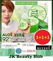★Nature Republic Aloe Vera Series★ Bundle of 3 Aloe Vera 92% Soothing Gel/ Mist/ Foam Cleanser/Gel