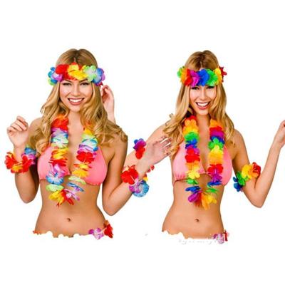 Hawaiian Set Hula 4 Piece Flower Garland Set Lei Set Hula Beach Hen Party