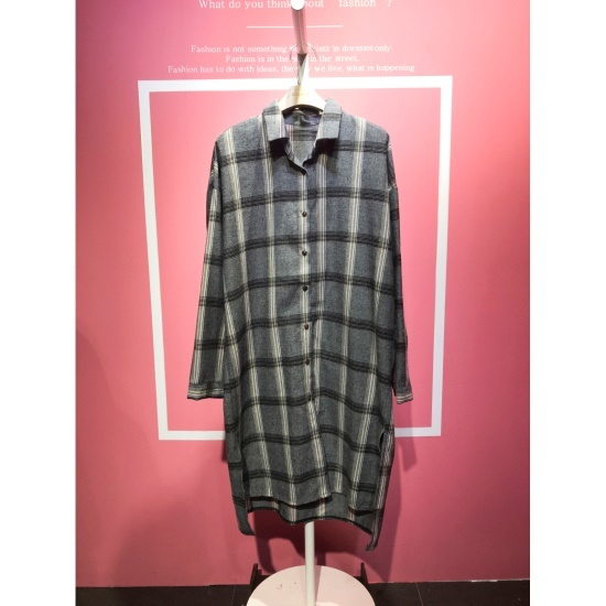 スタジオホワイトグレーチェックのシャツ、ワンピースMCB11S177 面ワンピース/ 韓国ファッション
