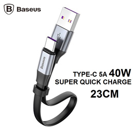 Baseus Simple Huawei Type-C 40W 23CM Quick Charge Fast Charging Cable USB Cables Short for Powerbank