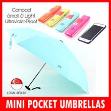 Compact Mini Pocket Design Anti-UV Folding Umbrella ULTRA SMALLEST 99% UV Light Protectiion