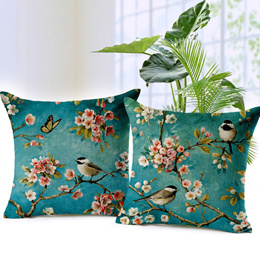 Couple Birds and Flower Art Painting Cotton Linen Decorative Throw Pillow Case Cushion Cover
