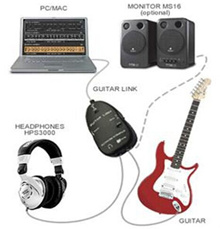 Electric Guitar to USB Interface 1/4 Audio Link Cable MP3 Recording for Mac PC