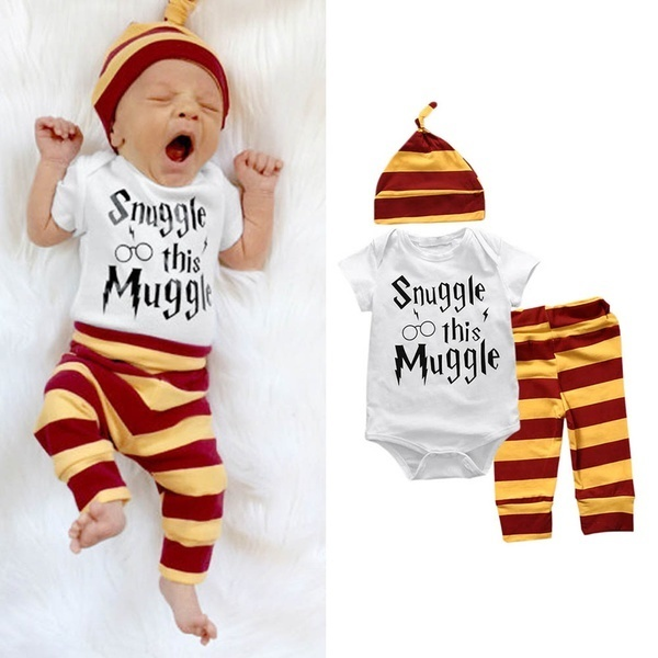 Qoo10 3 Pcs Pakaian Bayi Set Baru Lahir Bayi Laki Laki Perempuan Surat Muggl Pakaian Olahraga