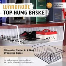 Wardrobe Top Hung Basket Rack Industrial Shelving Bookshelf Modern Kitchen Organize Wall Food Book