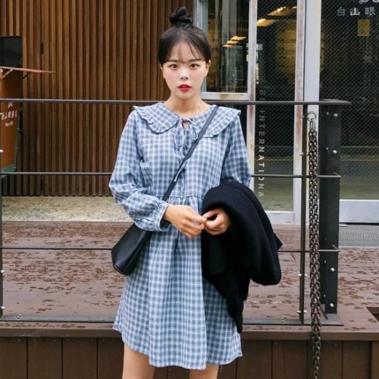 あっかんべーショップ愛しいチェックOPSワンピース 塔/袖なしのワンピース/ 韓国ファッション