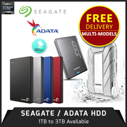 Promotion! Best Price SEAGATE! 2TB/ 1TB / 3TB SeaGate Backup Plus V2 Slim USB 3.0 External HDD.The Slimmest Portable Hard Disk in the Market. 3 Years International Warranty.