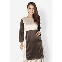 Fitri Colour Block Baju Kurung (Brown)